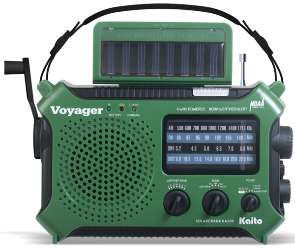 Short Wave Radio: solar powered, hand crank charging