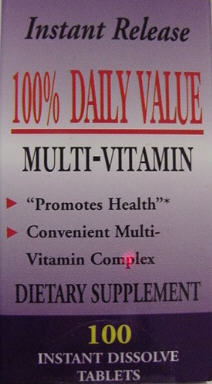 100% Daily Vitamins (60 instant dissolving micro tabs): One a day gives you more nutrients than most of the expensive, indigestible, multi vitamin pills do.